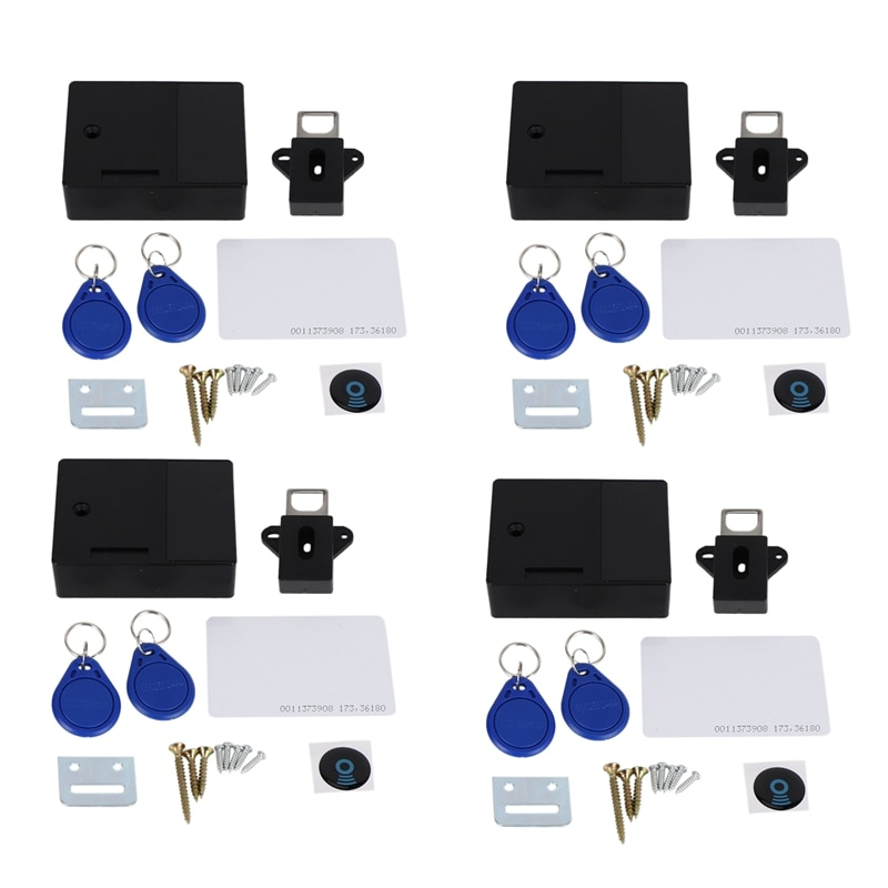 4X قفل خزانة إلكتروني تتفاعل لخزانة درج خشبية ، جاهزة للاستخدام وقابلة للبرمجة (أسود)