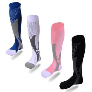 Men women socks couples pressure Compression socks sports football spandex nylon fashion classic popular soccer thigh high socks