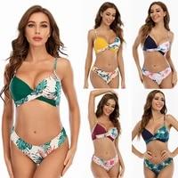 sexy printed bikini split swimsuit womens suspenders beach swimwear with chest pad without steel support bikini wholesale