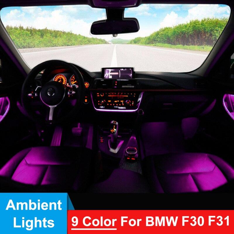 9 اللون LED أضواء المحيطة لسيارات BMW F30 F31 3 سلسلة 2012-2018 باب السيارة الداخلية لوحة الديكور الزخارف مصباح مصباح لتهيئة الجو