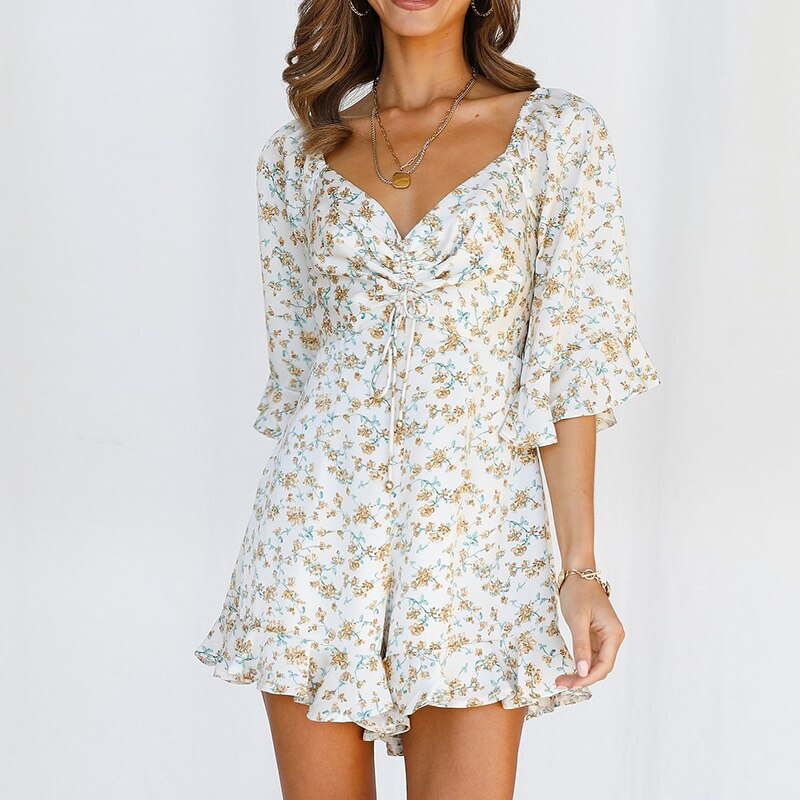 Women Summer Floral Print Playsuit V Neck Drawstring Half Sleeve Short Jumpsuit Casual Backless Holiday Rompers 2021