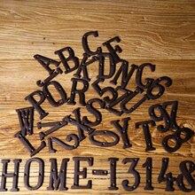 A bis Z , 0 zu 9 Metall Brief & Anzahl Schmiedeeisen Alphabet Brief Anzahl Zeichen Haus Tür Adresse Zimmer Anzahl Platte mit schrauben