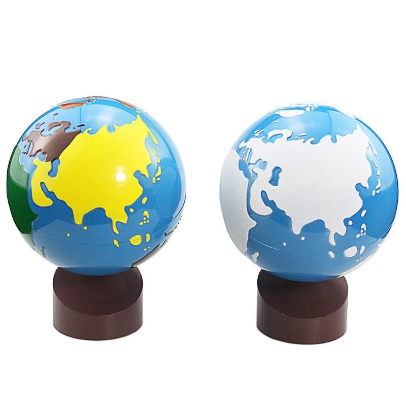 Монтессори географические игрушки географические глобусы земной шар игрушка пластик и дерево материал цветной песок глобусы обучение и об...