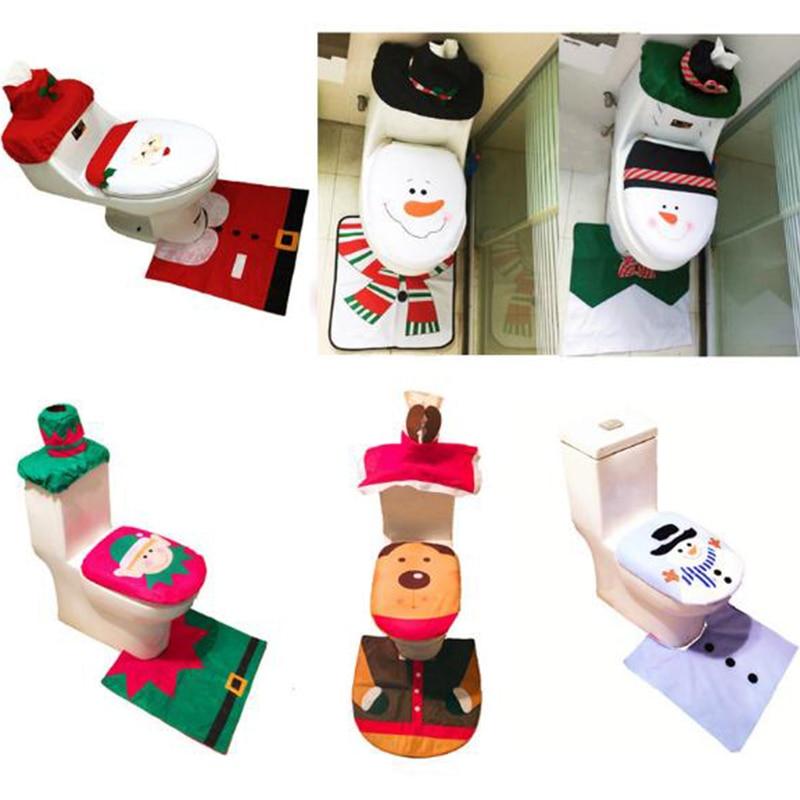 Toilet Foot Pad Seat Cover Cap Christmas Decorations Happy Santa Toilet Seat Cover and Rug Bathroom Accessory Santa Claus 1Set