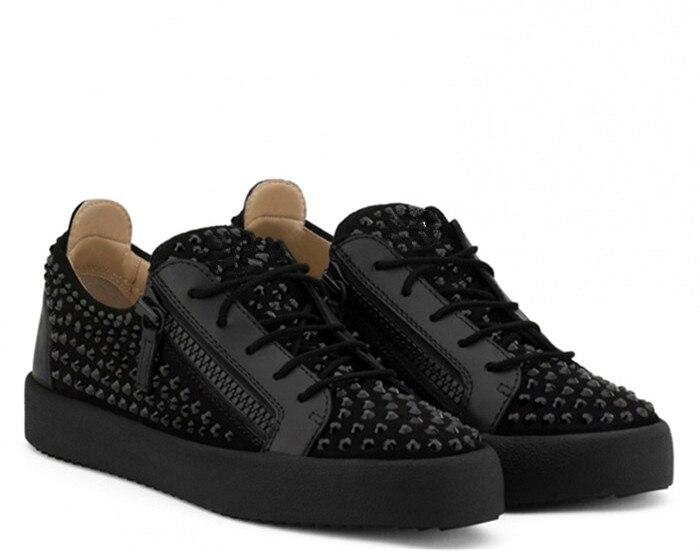 Showegle عالية الجودة خليط جلد الغزال تعادل سستة الشباب أحذية رياضية الأسود حجر الراين جولة تو الشقق منخفضة أعلى أحذية رياضية