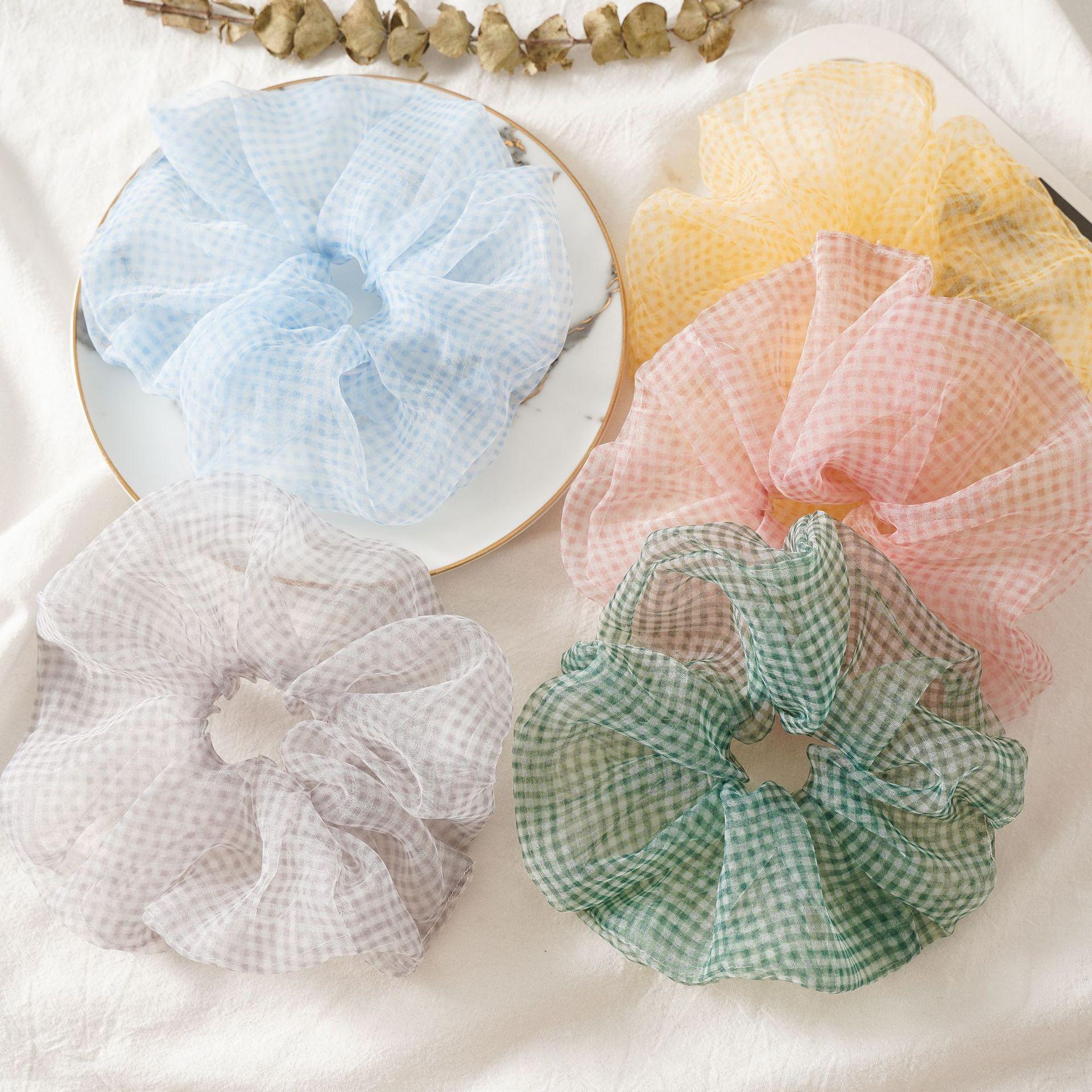 Women Summer Oversize Large Scrunchies Plaid Pattern Cute Adorable Fluffy Scranchis Big Organza Hair Bands Tule