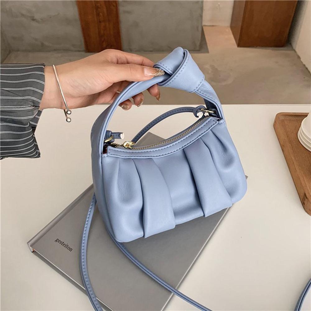 Folds Designer Mini PU Leather Crossbody Bags For Women 2021 New Trend Shoulder Handbags Branded Women's Hand Bag Grils Totes