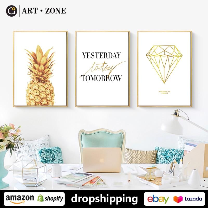 KUNST ZONE Moderne Kreativität Ananas Diamant Kunstdruck drucke Wand Kunst Leinwand poster Kunstwerk Schlafzimmer küche büro Wohnkultur