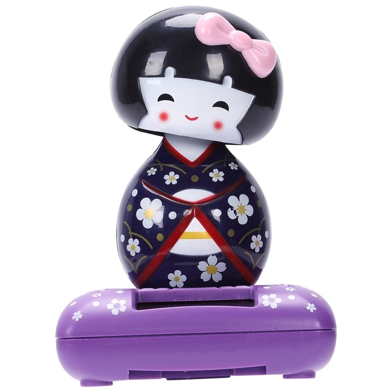 Brinquedo de energia solar-roxo quimono gueixa bonito menina japonesa carro decoração de casa