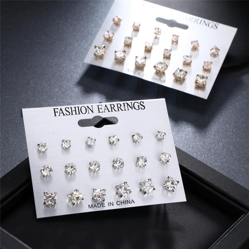 Fashion Simple Stud Earrings Set Square Geometric 2019 For Women New Rhinestone Crystal Jewelry Brinco