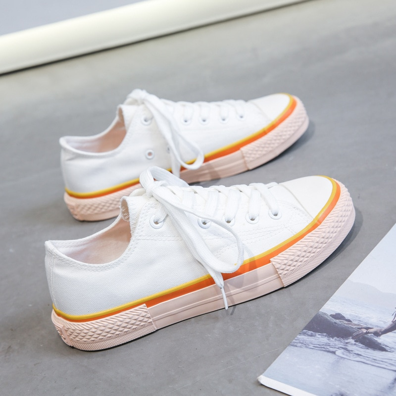 New Canvas Single Shoes Women High Top Vulcanize Student Style Rainbow Casual Sneakers Ladies Flats