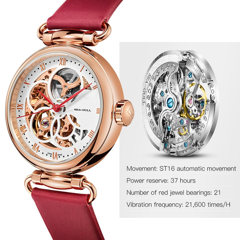 Seagull watch ladies automatic mechanical watch fashion belt waterproof hollow watch time goddess Roman numeral 6002L enlarge