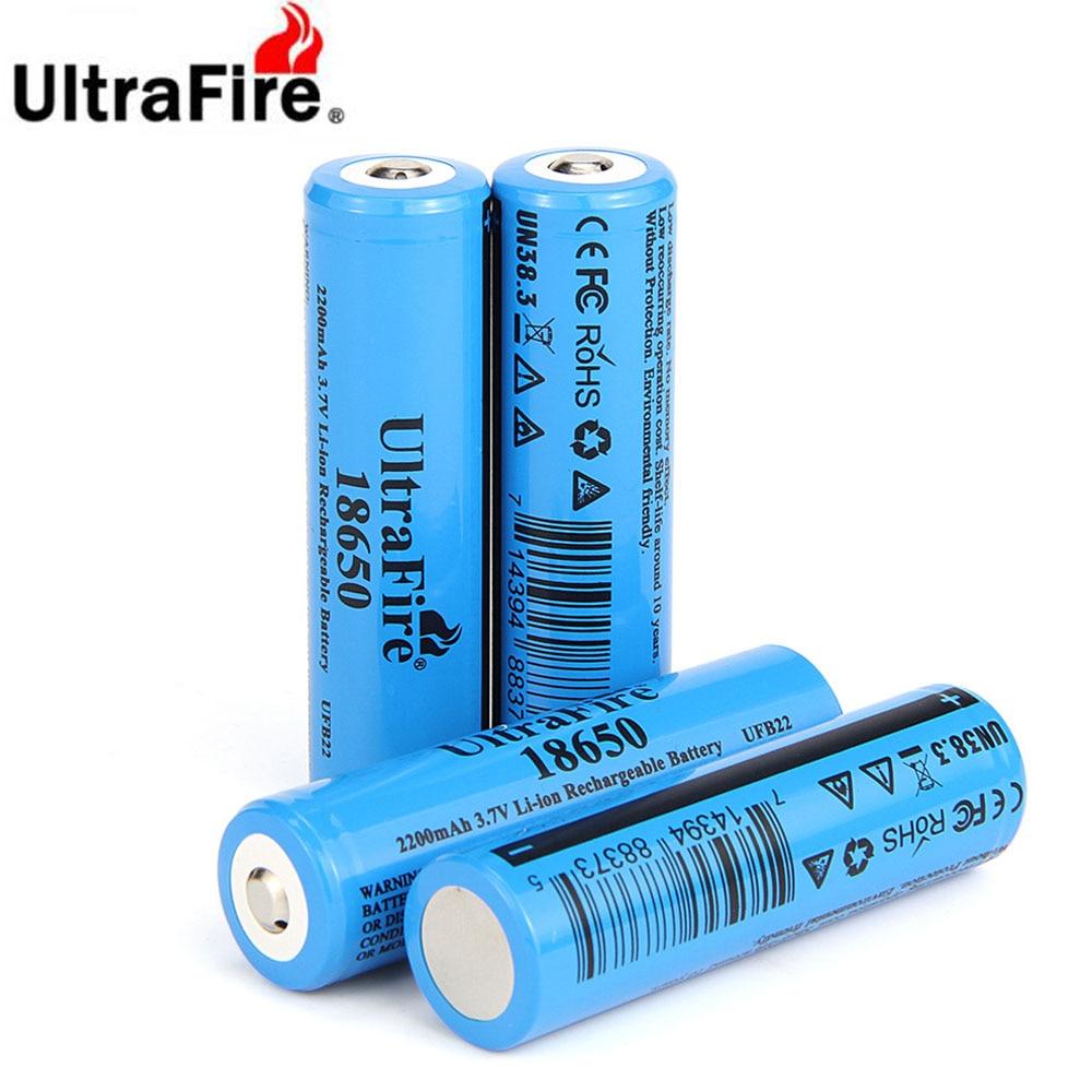 Ultrafire-بطارية ليثيوم أيون قابلة لإعادة الشحن 100% ، 18650 مللي أمبير ، 2200 فولت ، لمصباح يدوي ، لعبة ، منتج أصلي ، جديد ، 3.7