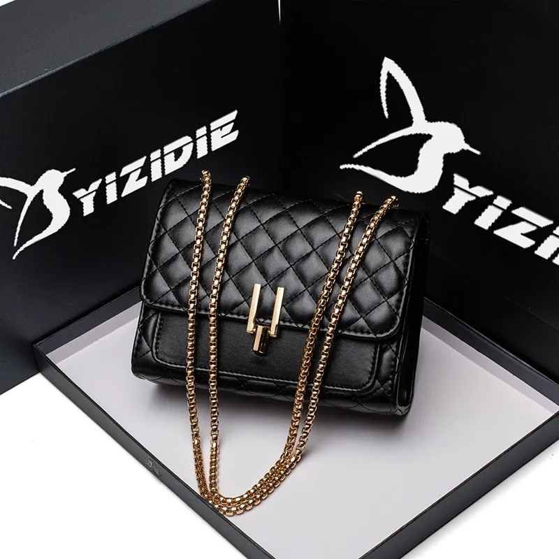 Classic Brand Designer Quilted PU Leather Crossbody Bags For Womens 2021 Simple Fashion Chain Shoulder Bag Lady Luxury Handbags