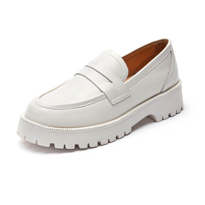 casual british style vintage thick soles platform shoes retro female harajuku lace up flat leather shoes college woven creepers AIYUQI Spring Shoes Female British Style 2021 New Thick-soled College Style Casual Loafers Genuine Leather Fashion Shoes Girls