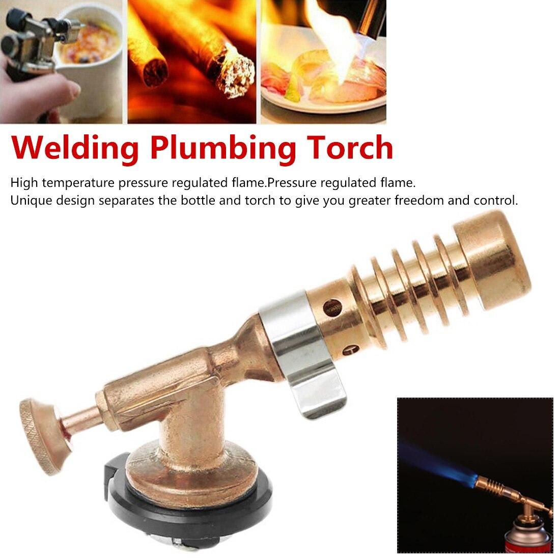 136mm Adjustable Temperature Brass Gas Turbo Torch Aluminum Brazing Propane Weld Plumbing