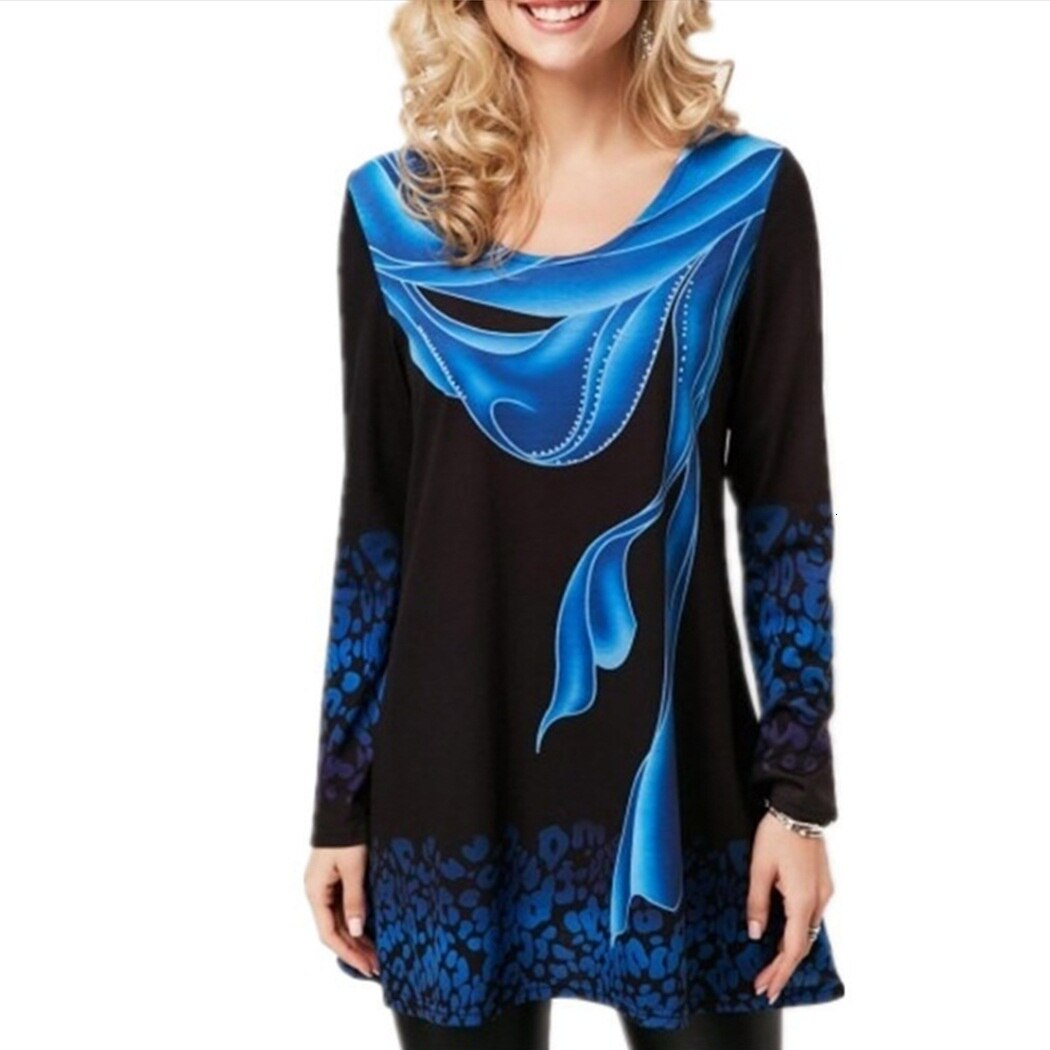 Moda mujer blusa camisas Floral cuello redondo Tops manga larga primavera otoño señoras túnica Vintage blusa ajustada Casual señoras Blusas