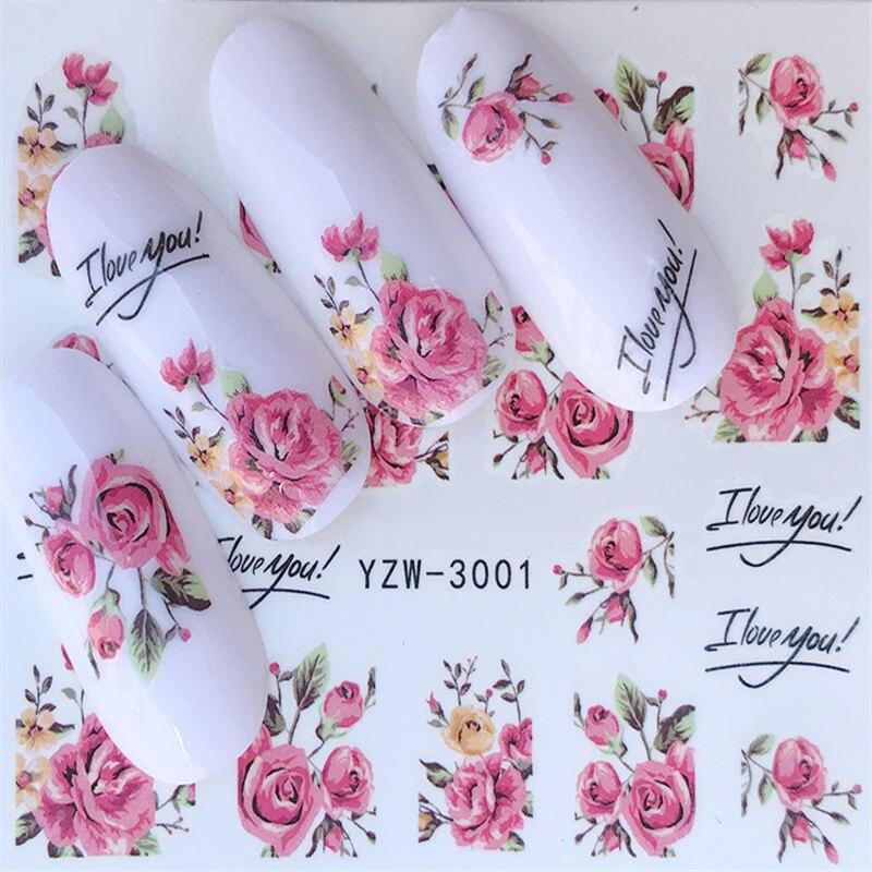 Наклейки для ногтей серии YZWLE с цветами, Переводные водой, полное покрытие, кончики для ногтей с изображением оленя/лаванды, сделай сам
