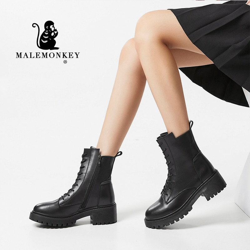 Platform Boots Women 2021 Winter Black Chunky Boots Leather High Quality Autumn Lace Up Rubber Non-s