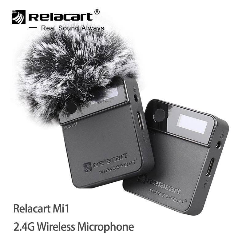 Relacart Mi1 2.4G ميكروفون لاسلكي نظام استقبال الارسال عدة 3.5 مللي متر ميكروفون Lavalier للهواتف DSLR كاميرا