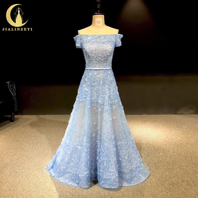 Rhine real Pictures Sexy Sky Blue off the shoulder Flowers Crystal  vestido de noiva robe de soiree arabic evening dresses long