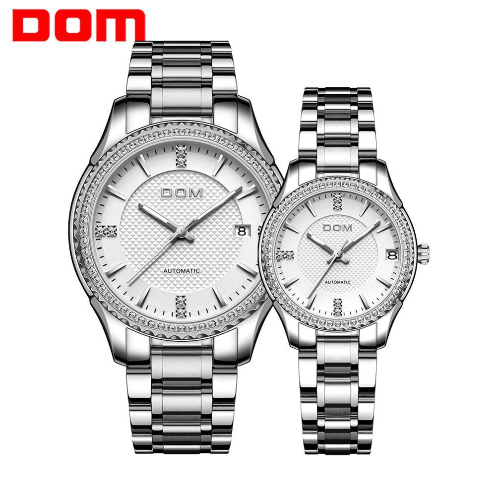DOM Automatic mechanical watch couple watch women's watch men's watch waterproof  luminous business stainless steel sports