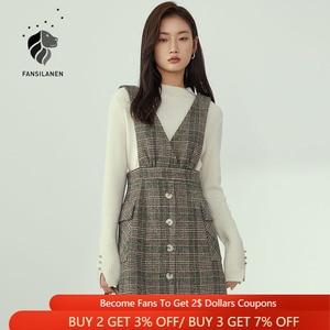 FANSILANEN V Neck Sleeveless Wool Blend Plaid Dress Women Autumn Winter Elegant Short Blazer Dress Office Lady Vintage Dress