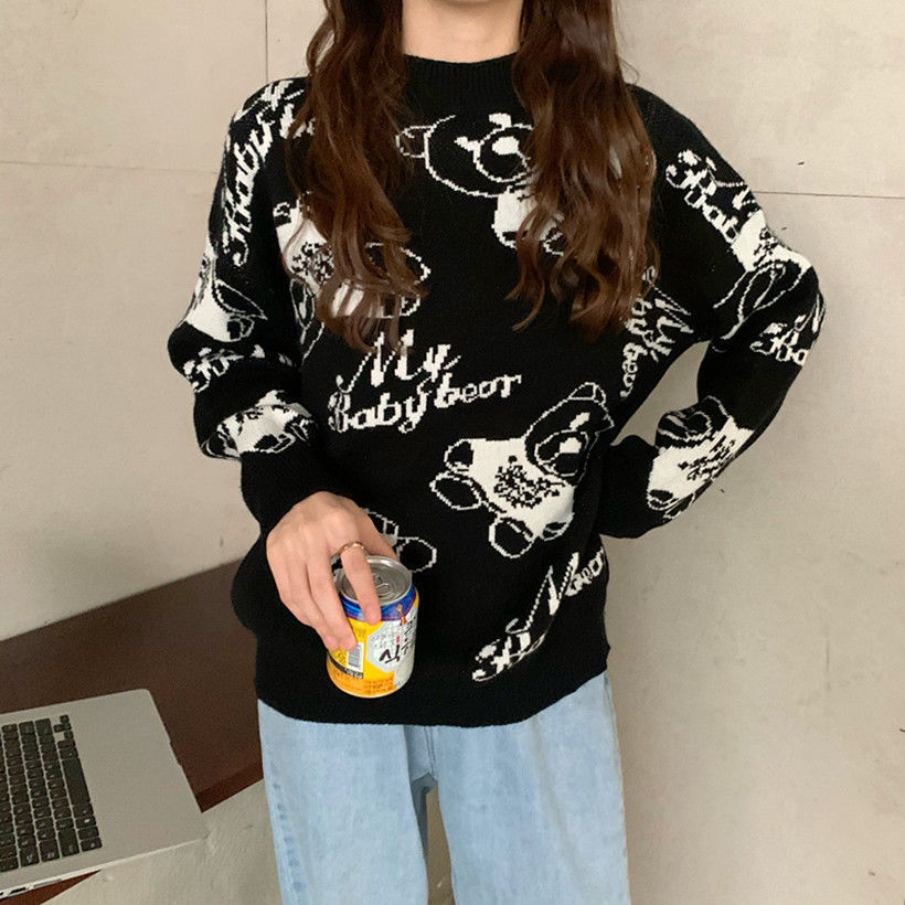 Fall / Winter 2020 New Casual Cartoon Printed Long Sleeve Pullover Knitted Sweater For Women
