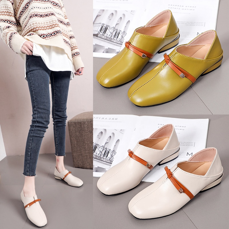 Ladies Casual Fashion Women Comfortable Round Toe High Quality Pu Leather Office Pumps Shoes Spring