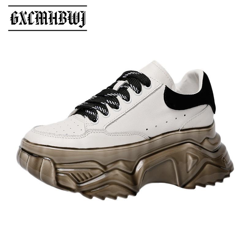 GXCMHBWJ ربيع خريف موضة جلد طبيعي عالية منصة النساء أحذية رياضية تصميم فريد سميكة أسفل الدانتيل يصل الاحذية المد