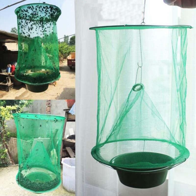 Plegable volar trampa Mosquito 1 piezas moscas de red de malla reutilizable jaula Catcher insecto asesino casa y jardín de verano al aire libre