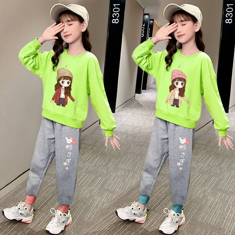 Girls Clothes 2021 Autumn Spring Long Sleeve Shirts + Pants Cartoon Suits Kids Clothes Teen Children Clothing Sets