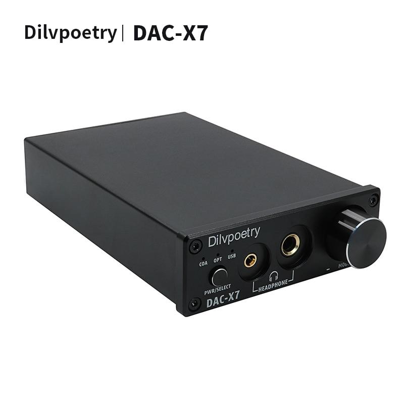 Decodificación de auriculares USB Dilvpoetry-DAC-X7 CM6642 + ESS9018K2M + TPA6120 + OPA2134 + NE5532 3,5 + 6,35 salida 24bit/192kHz decodificador de auriculares