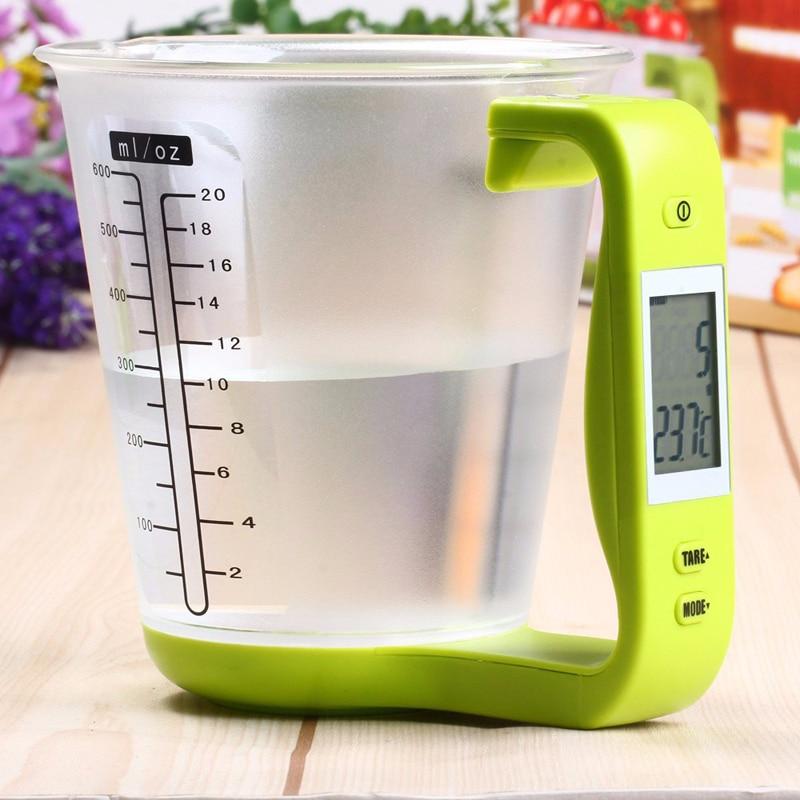 Copo de medição 4 em 1, balança eletrônica de plástico ferramenta de medição de temperatura do copo de contas