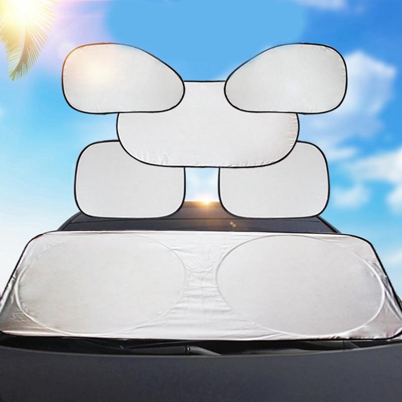 Tela recubierta de plata, juego de seis bobinas dobles, pantalla solar 170Tt de nailon, conjunto de seis piezas con logotipo impreso, bloque solar de seis piezas