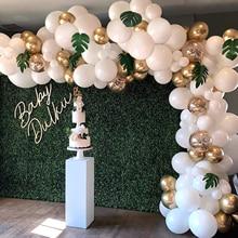 Kit darc de guirlande de ballon de 98 pièces, ballons de confettis dor blanc, feuilles de palmier artificielles 6 pièces, ballons pour la décoration de mariage