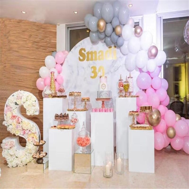Blanco Mesa Redonda arco boda pie cumpleaños fiesta bebé ducha decoración gran arco fondo decorativo flor soporte boda