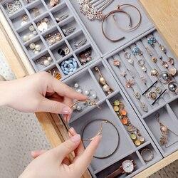 Gavetas organizadoras de joias 3 pçs, caixa de armazenamento de joias, pulseira, caixa de presente, portátil de veludo, organizador de joias, brincos