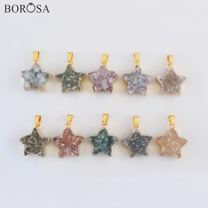 BOROSA 18K Gold Star Shape Natural Agates Druzy Pendant for Necklace, Natural Druzy Pendant Necklace Gold Pendant Necklace G2023