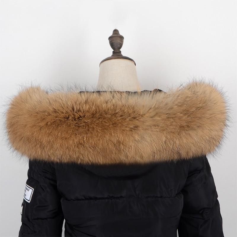 Inverno de pele natural novo 100% real gola de pele de guaxinim e cachecol moda feminina casaco cachecol gola extravagante.
