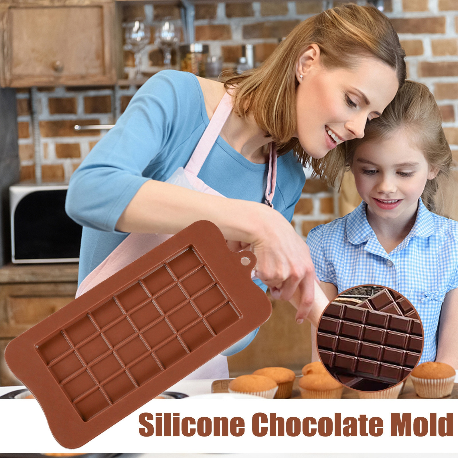 Molde de silicone 24 mesmo molde de chocolate moldes fondant diy doces barra molde bolo decoração ferramentas cozinha acessórios bakeware