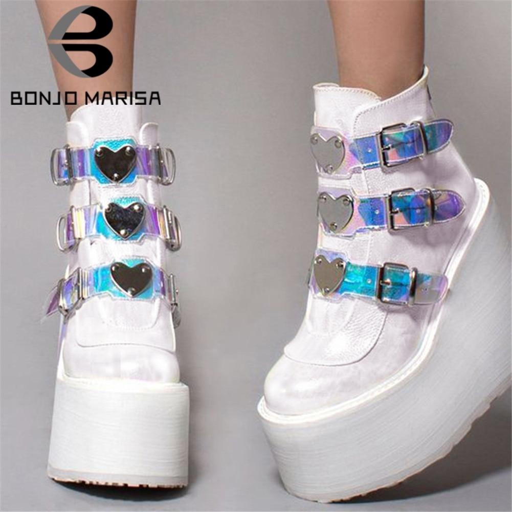 BONJOMARISA دروبشيبينغ INS الساخن العلامة التجارية عالية منصة حذاء من الجلد النساء 2020 موضة بولي كلوريد الفينيل حزام تزيين عالية أسافين أحذية امرأة