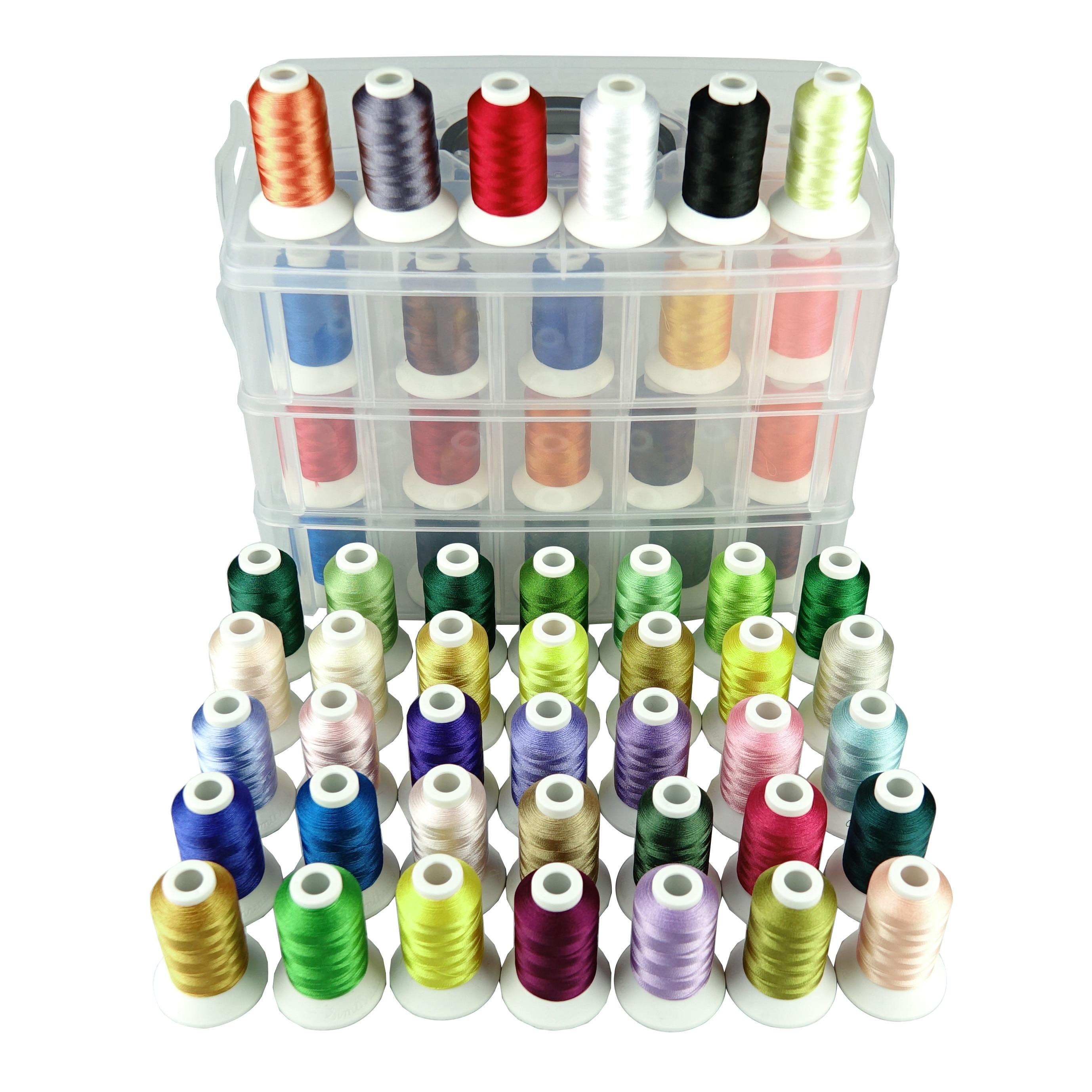Simخيط تطريز لماكينة البوليستر 40/63/80 ألوان براذر مع صندوق تخزين بلاستيكي