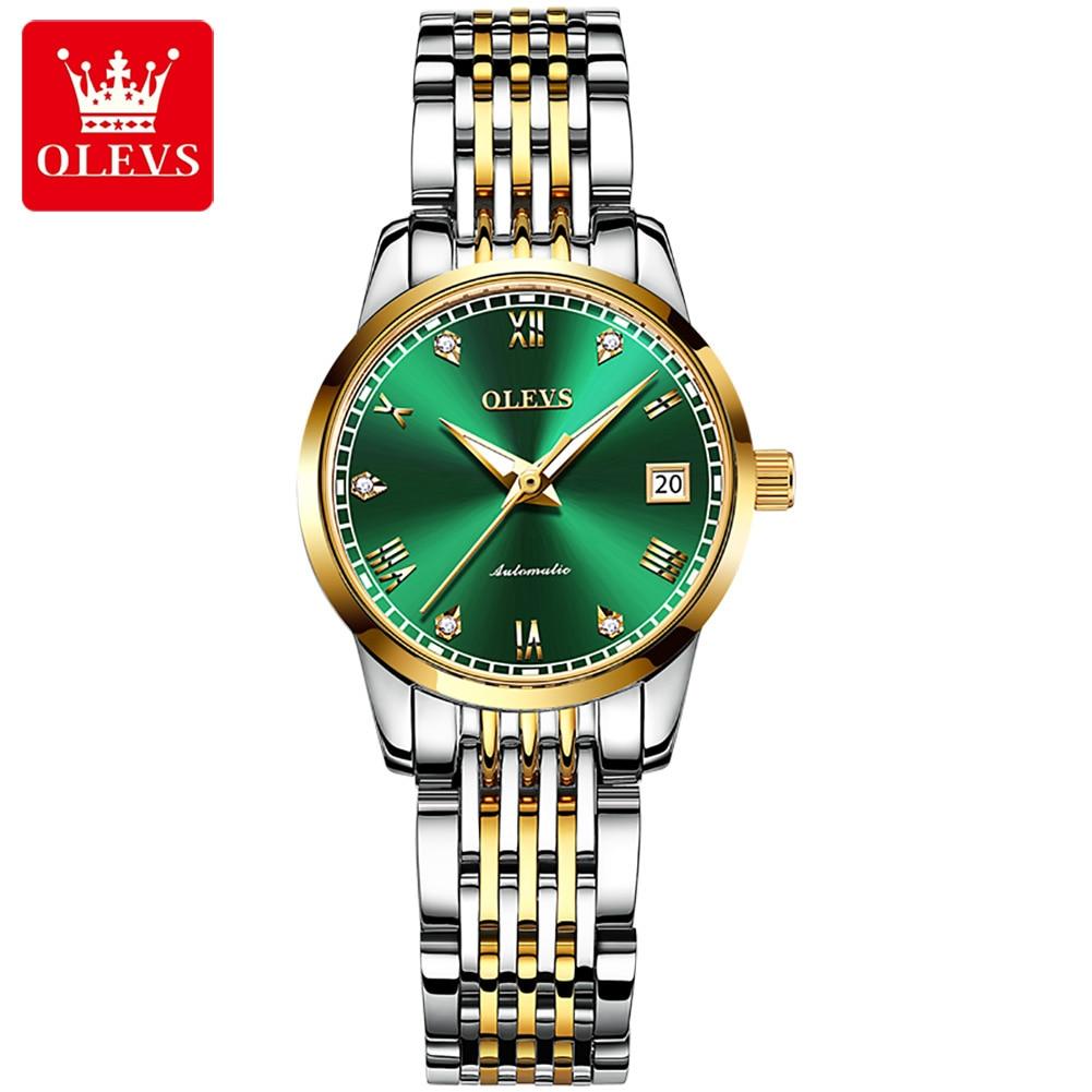OLEVS Watches for Women Top Brand Luxury Mechanical Watch Waterproof Classic Steel Strap Diamond Aut