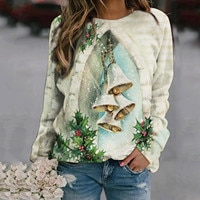 Hoodies Women's Christmas Sweatshirt Casual Loose Pullover Top Autumn And Winter Aesthetic Print Selfie Oversize Female Hoodies