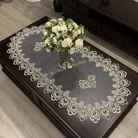 oval tablecloth table dinning table cover european embroidered polyester yarn flower fabric living room table mat lace modern