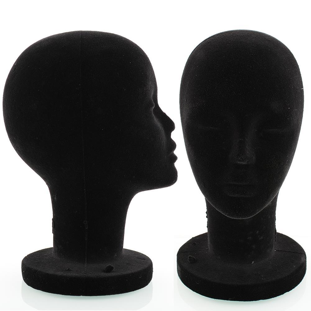 Female Styrofoam Foam Mannequin 56cm Head Head 56cm Black Black Stand Model Hair Wig Manikin Hat Display Glasses