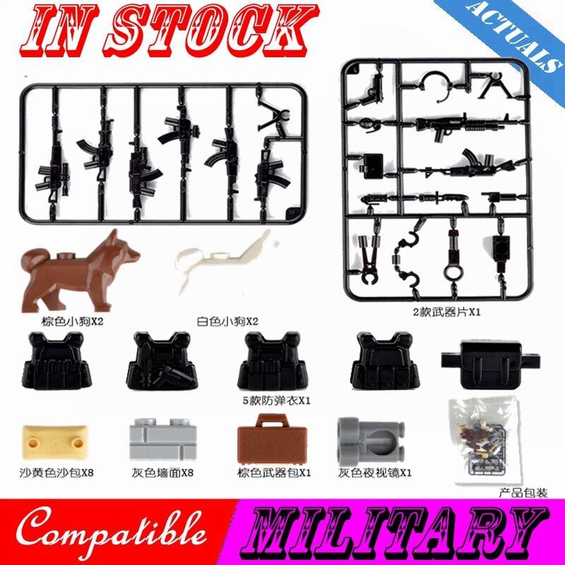 Creador militar WW2 visión nocturna gafas soldados figuras de perros pistolas ejército accesorios para arma Kit juguete de bloques de construcción ciudad creadoras