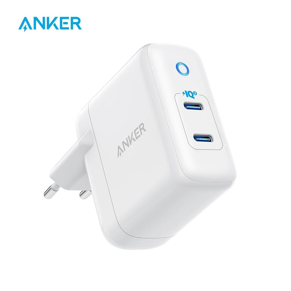 شاحن حائط Anker 36 واط 2-Port PIQ 3.0 Type C ، PowerPort III Duo ، قابس قابل للطي ، توصيل طاقة لهاتف iPhone 11/11 Pro والمزيد