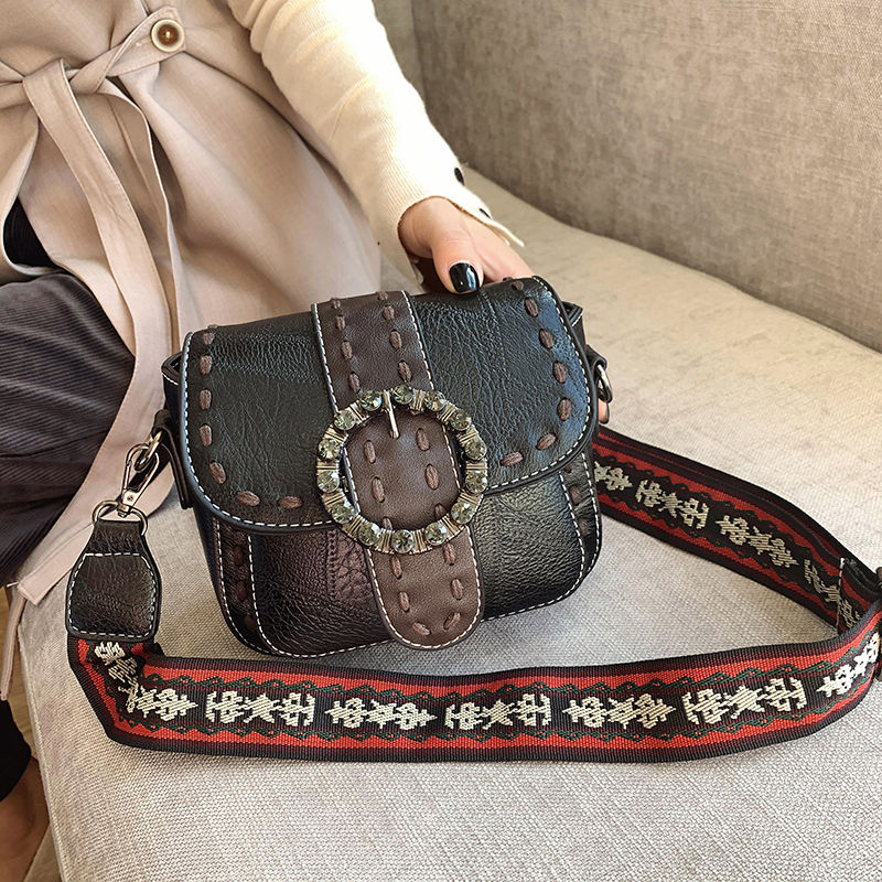 Vintage Casual Women's Small Bag 2021 Patchwork PU Leather Wide Strap Female Shoulder Messenger Bags